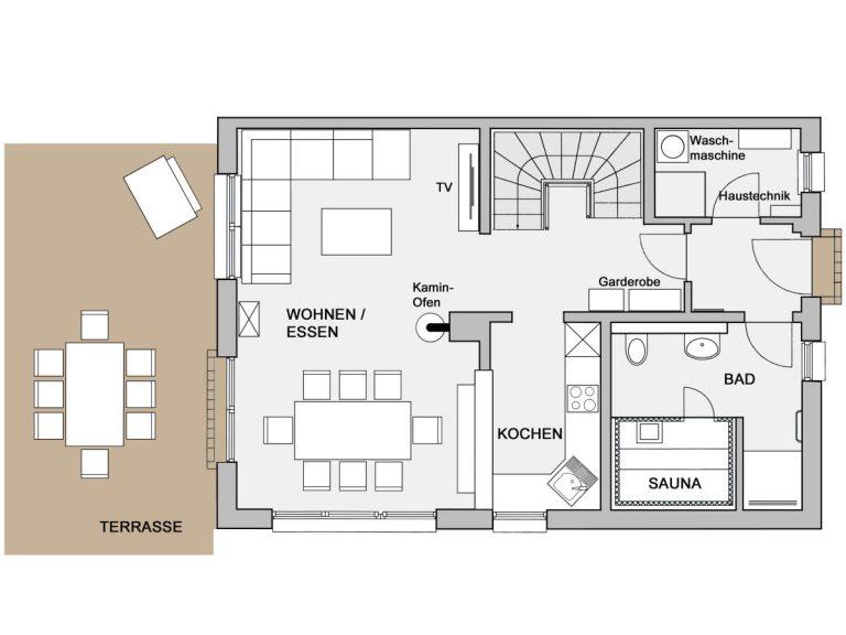 Grundriss Erdgeschoss Haus Schifferkaten Zingst
